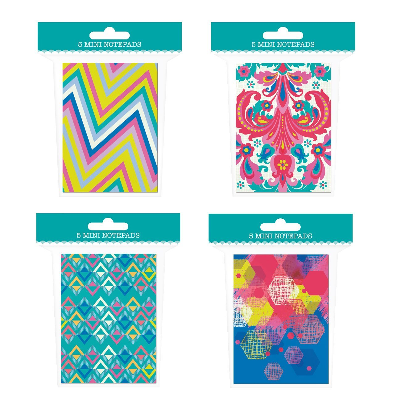 """Mini Notepad Set - 20 Notebooks Total! 4 Different Designs - 4"""" x 2.75"""" Pocket Notebooks - Lined Pages"""