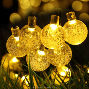 solar crystal ball fairy LED string light lights for Christmas garden decorations