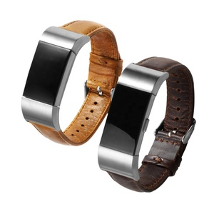 Calf Leather Bands With Pre-V Pin Buckle Replacement Watch Band Strap Sport Smart Watch Strap for Fitbit Charge 2 Bands