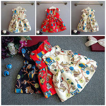 2016 New Fashion Princess Baby Girls Clothes Owls Branch Print Party Gown Formal font b Fancy