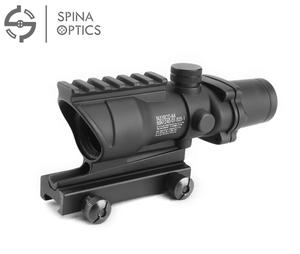 SPINA OPTICS Hunting ACOG 4X32 Scope Real Fiber Optic Red Green Illuminated Weaver Picatinny Rail Mount Tactical Riflescope