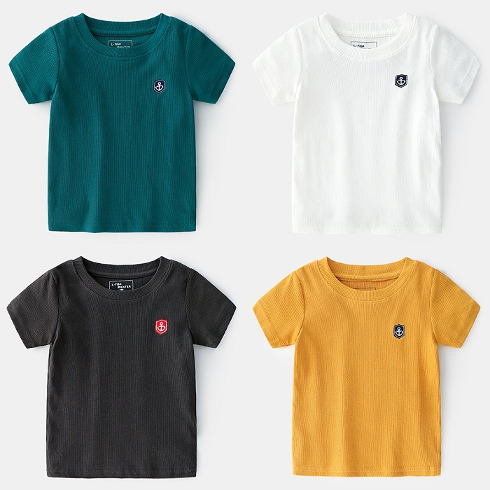 China Top Ten Selling Products Kids Thread Embroidered Plain Images Short Sleeve T-shirt With Differe