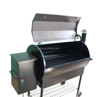 Traeger barrel Wood Pellet Charcoal Smoker Barbecue Grills with Rolling Cart for Outdoor Backyard.