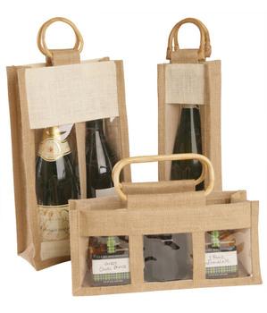 59cdc3a1b Asa de bambú al por mayor bolsa de yute vino/rojo vino embalaje bolsa/
