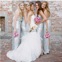 BD04 Fashion Sparkling Spaghetti Strap Silver Bling Sequined Bridesmaid Dresses Long