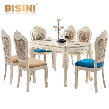 BISINI Luxury French Romantic Dining Room Set, Hand Carved Solid Engraving  Dining Table And Chair