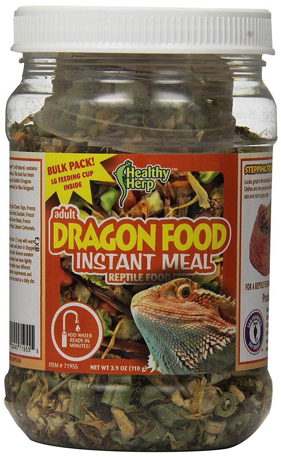 San Francisco Bay Brand SSF71955 Bulk Healthy Herp Bearded Dragon Mix Adult Instant Meal, 3.9-Ounce