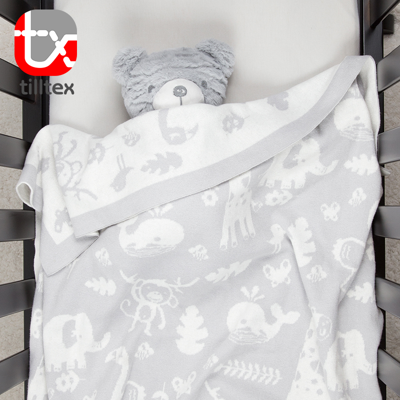 Cartoon Printing Cotton Knitted Baby Blanket Super Soft
