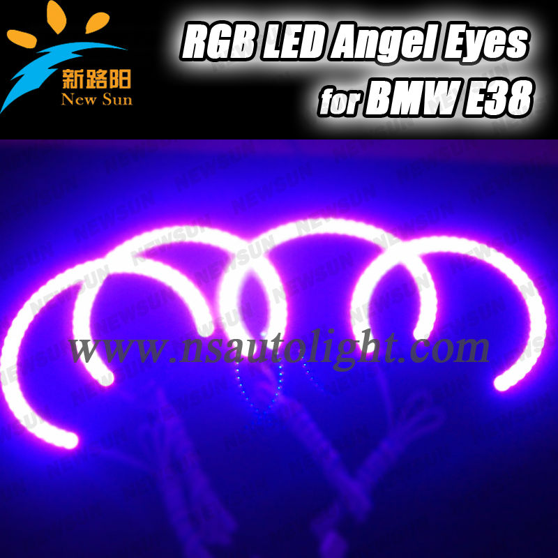 RGB multi-color led angel eyes for bmw e36 e38 e39 e46 car headlight,smd 5050 led chips ring kit for e38 head lamp
