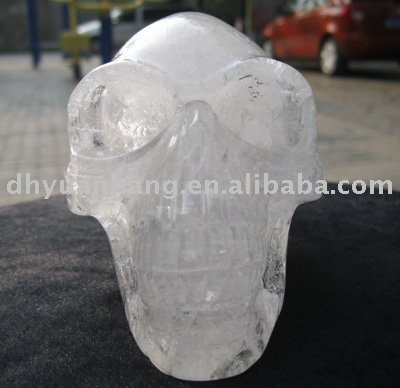 Natural white rock longhead alien crystal skull