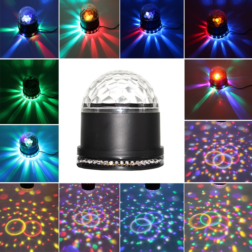 Party Lights, Multi colors changes, Sound Activated Auto RGB Mini Rotating Magic Disco Ball Strobe Stage Lights for DJ Dancing show, Xmas Birthday Party, Wedding Show, Bar, Club