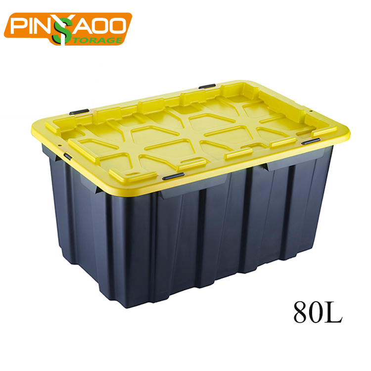 Top quality promotional plastic storage tote box 80L large storage trunk