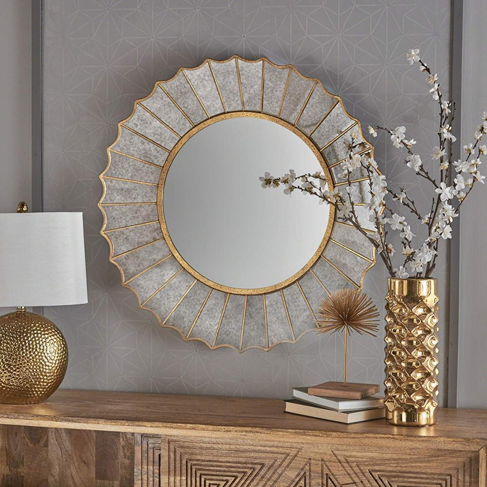 Great Deal Furniture Glam Sun Burst Gold Iron Leaf Frame Wall Mirror