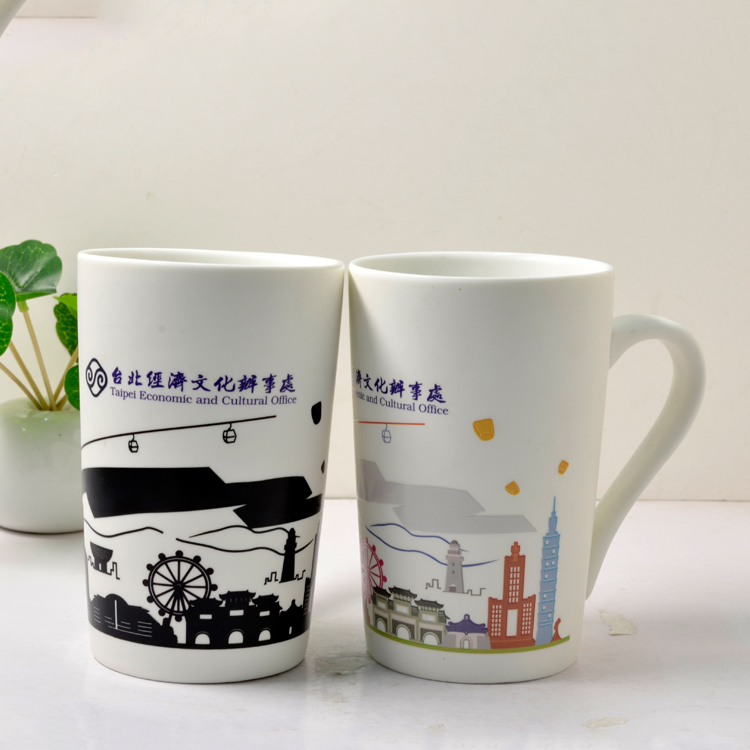 Shenzhen wholesale 300ml creative crafts promotional gifts color change ceramic drinking mug