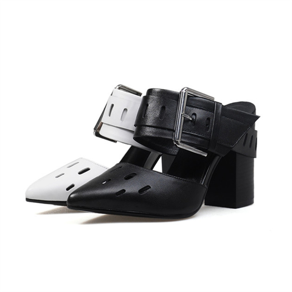 leather women fashion autumn high genuine spring buckle Asumer new shoes heels pointed ZY0048 pumps GJZ toe AYawnqAE8H