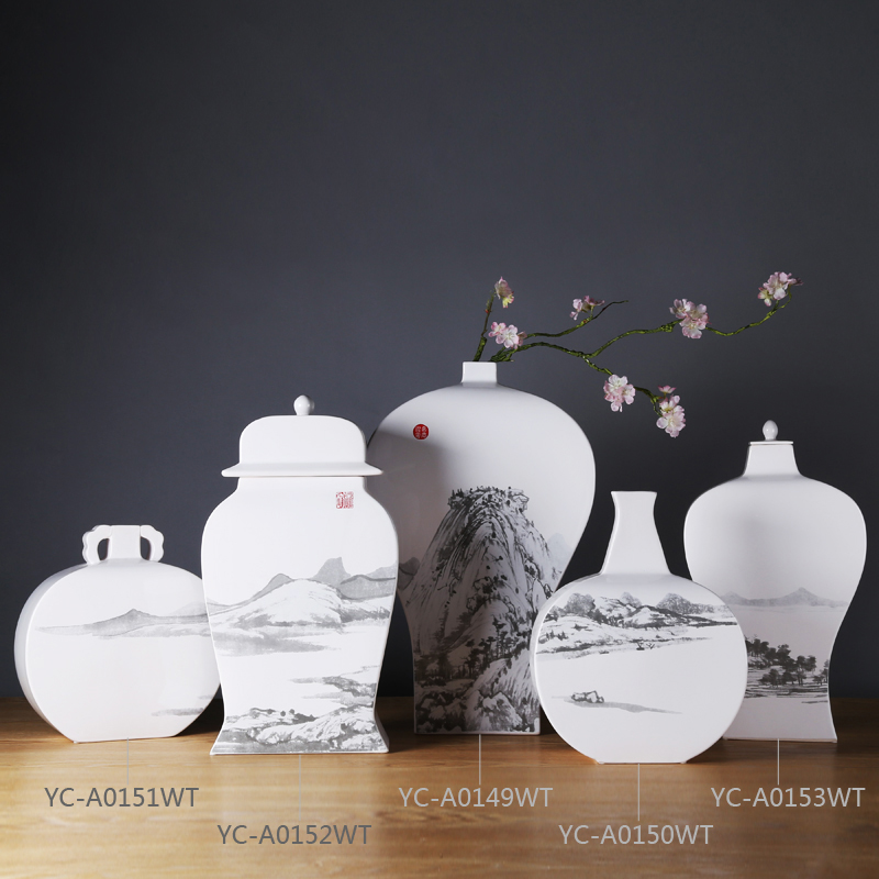 2016 New launched China style ceramic landscape painting small vases