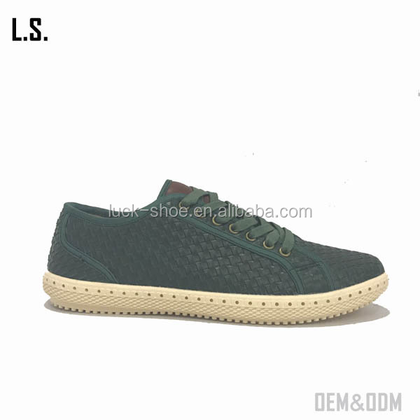 2017 trendy men leather knit casual shoe Men low cut sneakers handmade weave men walking shoes