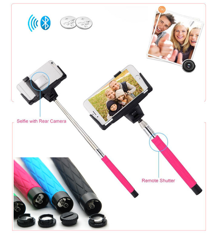 for iphone 6 bluetooth selfie stick extendable selfie monopod with hd mirror. Black Bedroom Furniture Sets. Home Design Ideas