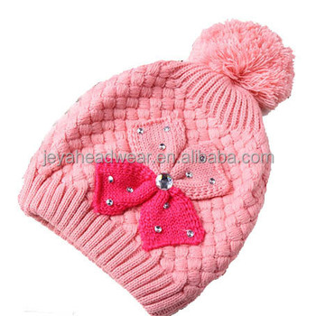 97222338424 Custom pom pom knit hat knitted beanie winter hat with flower jacquard pink  baby girl s hat