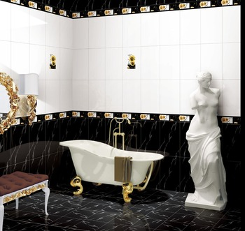 30x60 Cm Diseño Moderno Blanco Y Negro Color Cuarto De Baño De ...