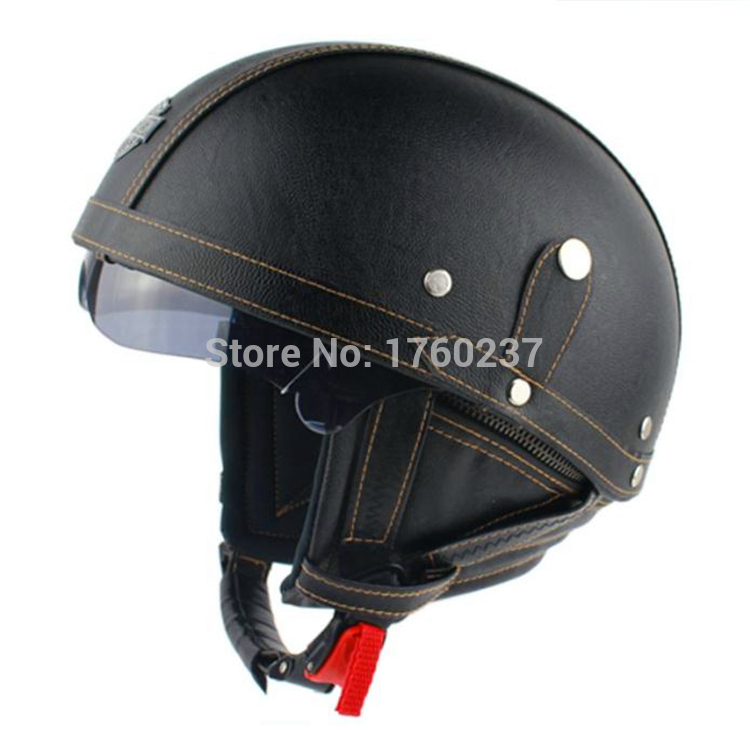 DOT Approved New Retro Leather Motorcycle Helmet vintage ...