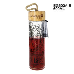 EG600A/B 600ML/20OZ Single wall bamboo lid with portable rope drinking bottle with tea infuser custom glass water bottle