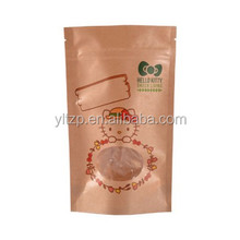Recyclable zip lock kraft paper bag/kraft stand up zip pouch/brown polythene bags for nuts