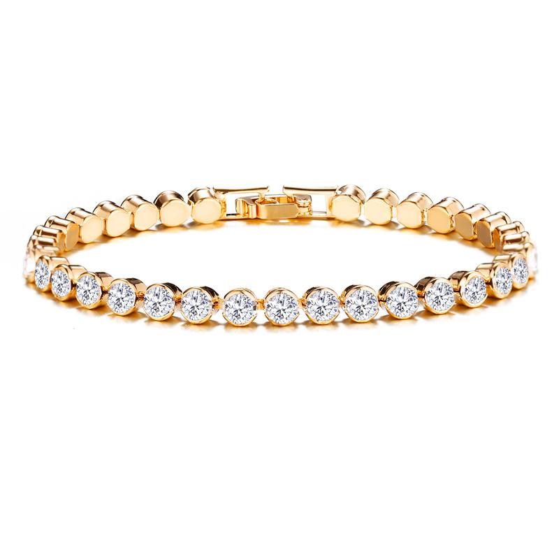 Hot البيع قوس قزح الأحجار مجوهرات الأزياء مطلية بالذهب الأبيض كريستال المرأة تنس أساور