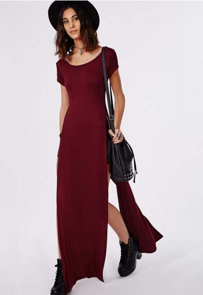 c569599029f819 2016 Women s Burgundy Side Split Custom Wholesale Short Sleeve Maxi Dress