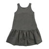 hot sale dark grey stretch linen fabric dress with 2 small wooden buttons in front short sleeve baby girl dress