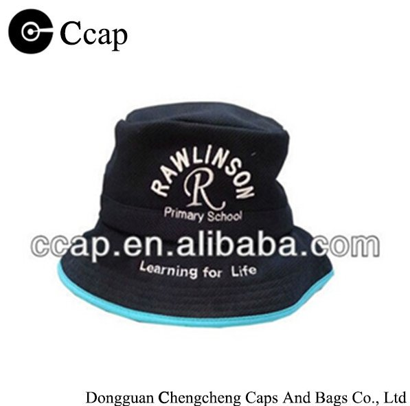 Promotional cheap blue embroidery school kids bucket fisherman cap