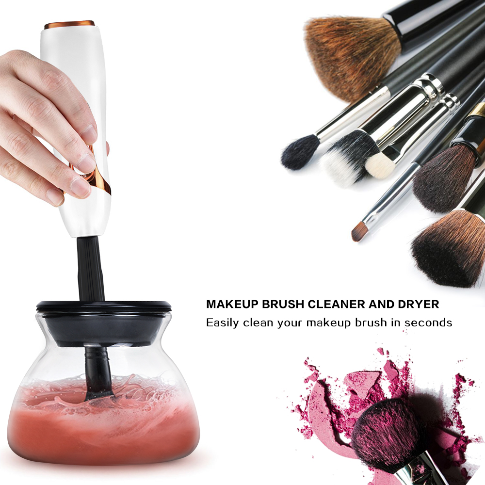 battery operated Automatic Makeup Brush Cleaner and Dryer for All Size Makeup Brushes with Strong Motors and Spinner