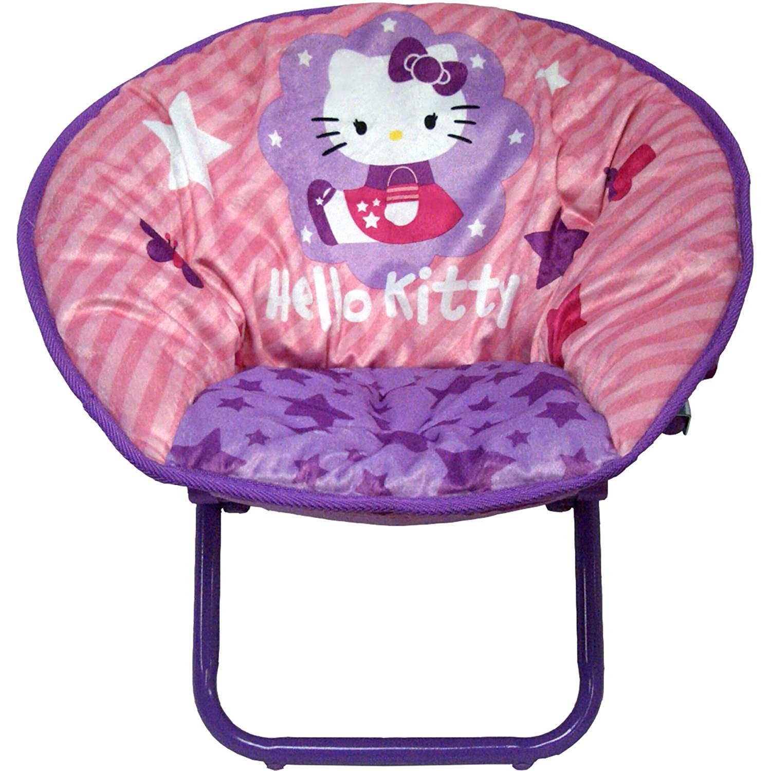 Get Quotations · Hello Kitty Saucer Chairs Pink Toddler Kids Seat Portable  Character Comfortable Collapsible Sturdy Metal Frame Polyester