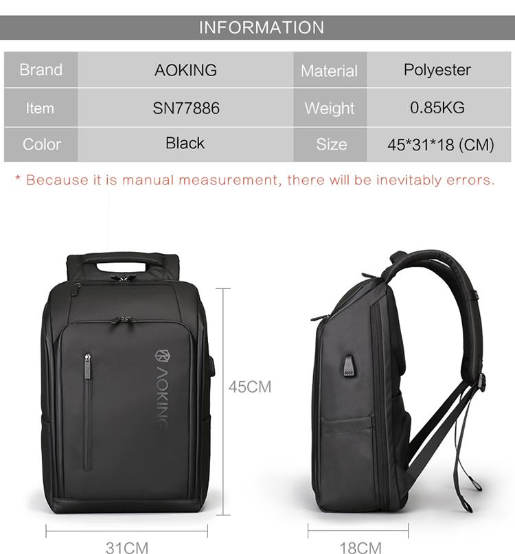 2018 new arrival Expandable plain usb charging smart bag zaino back pack mens laptop backpack bags