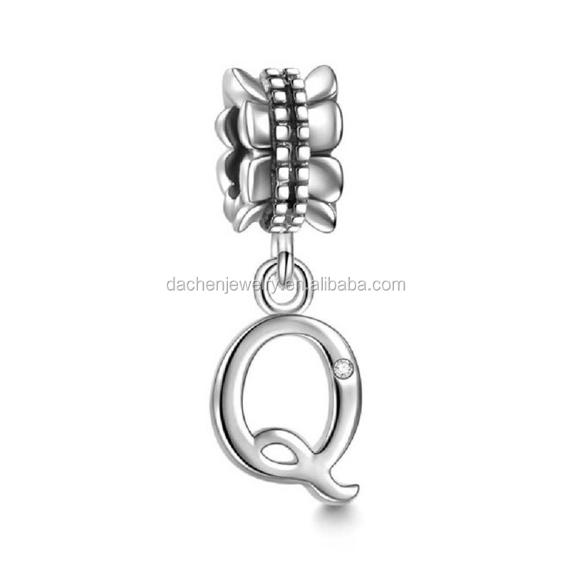 Letter Q Silver Charm Pendant Jewelry Making Supplies Guangdong