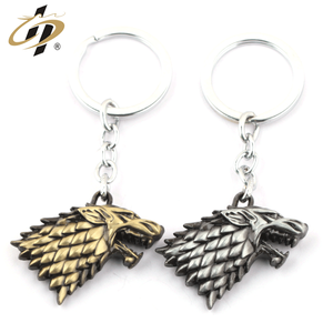 Wholesale 3D zinc alloy antique gold silver metal keychain for Stark