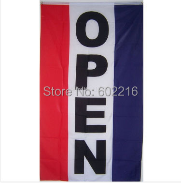 Vertical Open Business Sign Banner Flag 3ft X 5ft Size No