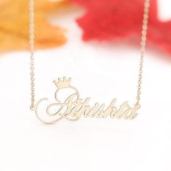 Personalized Name Crown Handmade Customized Cursive Font Name plate Pendant Stainless Steel Chain necklace Birthday Gifts