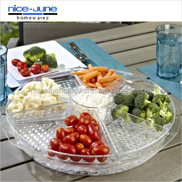 Acrylic Tray With Insert Round Plastic Serving On Ice