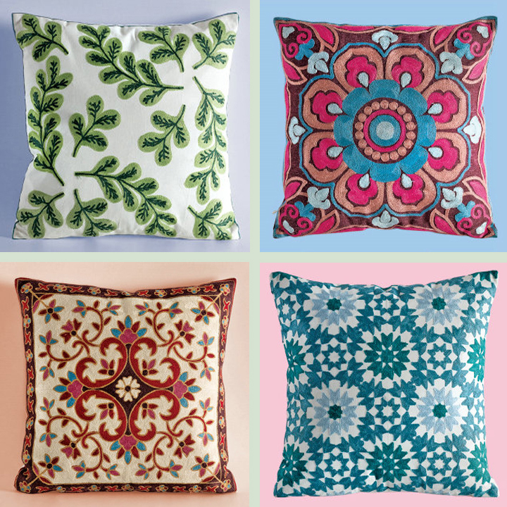 Custom Cushion Cover Hand Embroidery Design Machine Embroidery - Buy Cushion Cover Hand ...