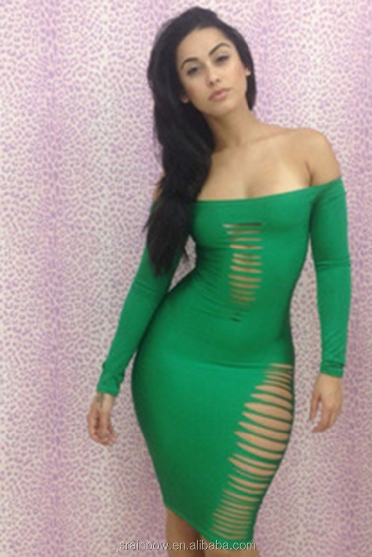 2016 Cheap In Stock Green Long Sleeves Latest Design Sexy Club Dress ...