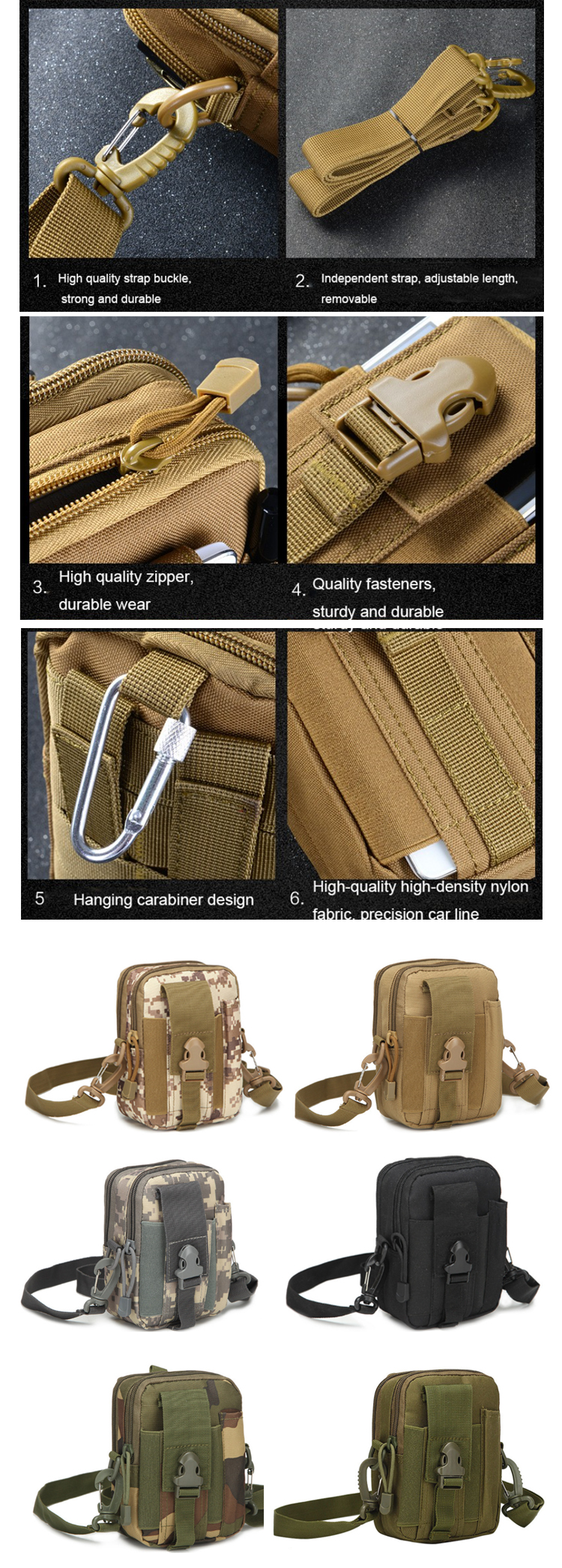 Osgoodway2  Tactical Military Pouch Bag Waist Bag for Men Belt Mini Tactical Backpack Small