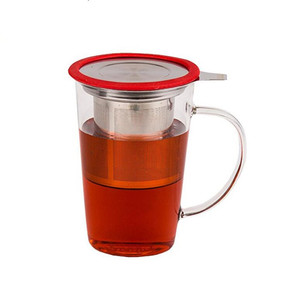 Healthful Ware Promotional Gift Borosilicate Glass Tea Mug With Tea Infuser Strainer and Lid For Loose Leaf Tea