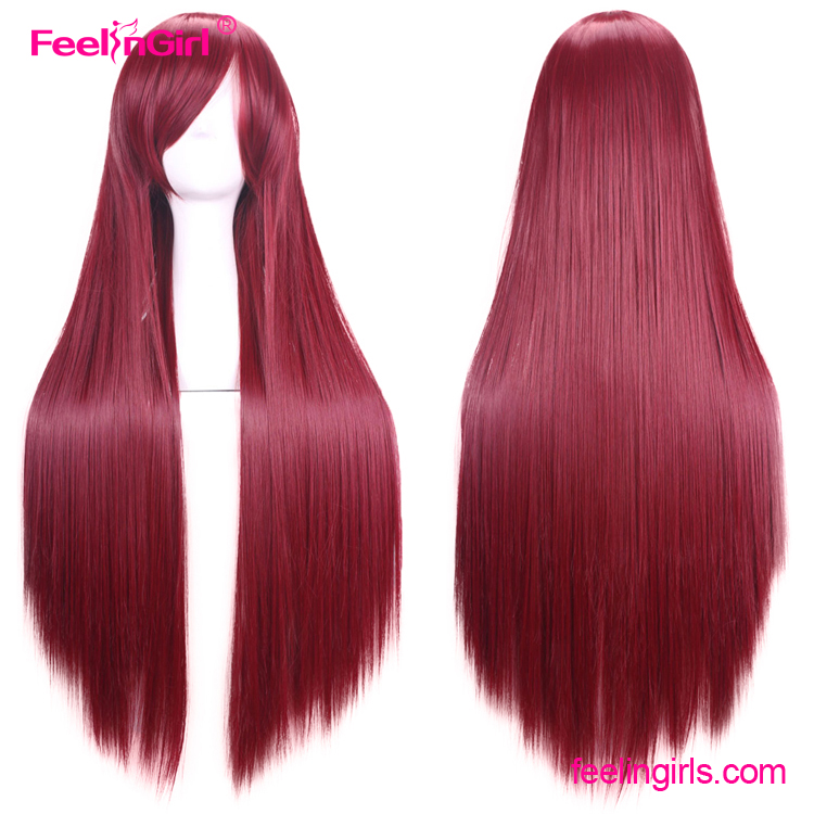 In Stock Red Wine Long Side Straight Human Synthetic Women Hair Wig