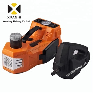mini 12V electric car lift wtih air inflation dual-function horizontal type Electric hydraulic Floor jack with Impact Wrench
