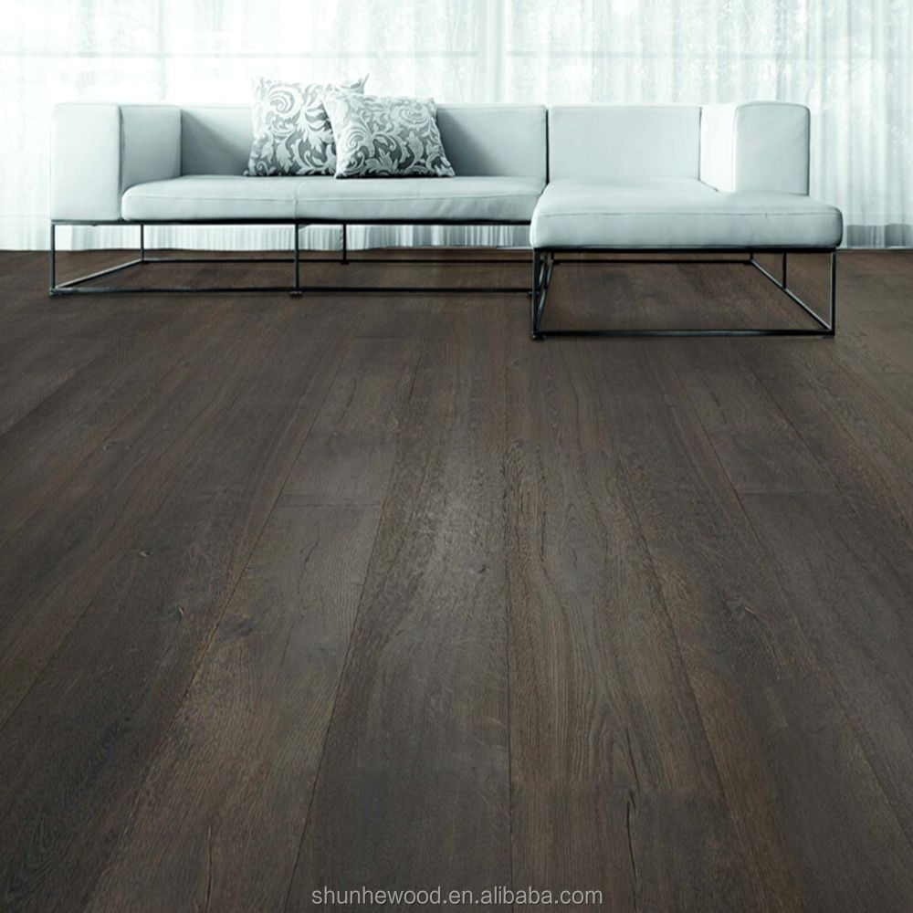 Aged chocolate Hand Scraped Solid European Oak Wood <strong>Flooring</strong>