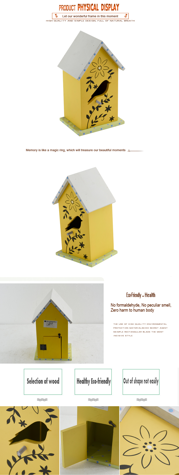 Lasted design simple various outdoor  breeding   wooden bird house