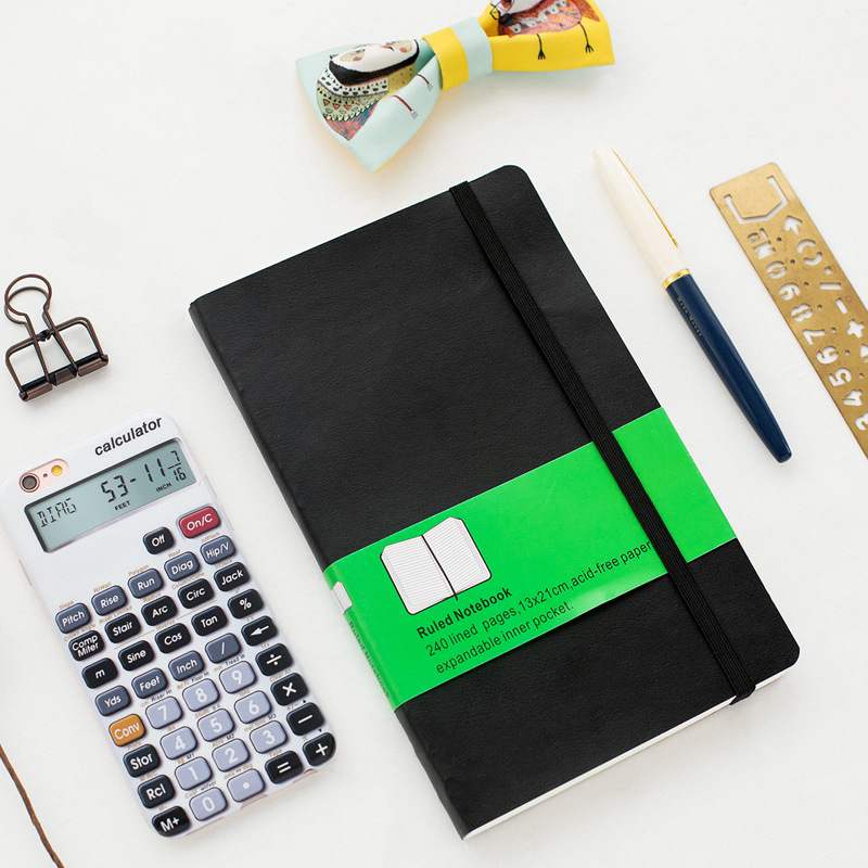 Wholesale Stock Small Order Student Stationery Black Ruled Notebook