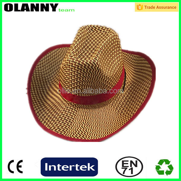 cowboy men's customized foldable straw hat