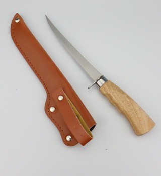 non-slippy wooden grip PU sheath fillet fishing and outdoor knife